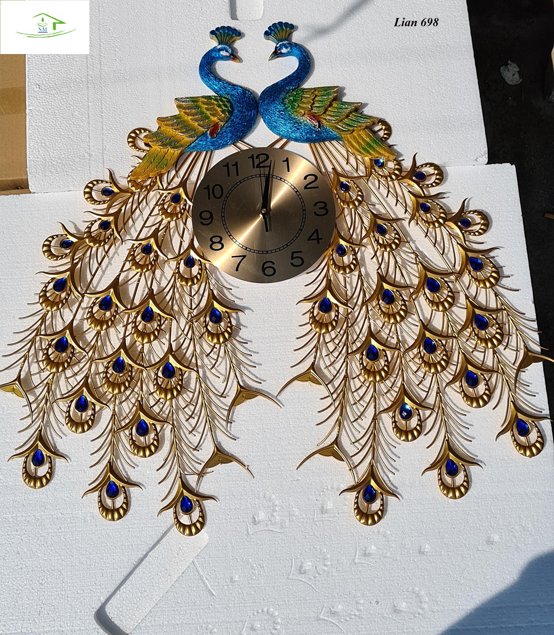 Đồng hồ trang trí nhà cửa chim công đôi nghệ thuật sang trọng DH698