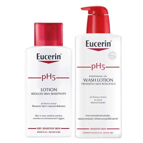 Bộ Sữa Dưỡng Thể Cho Da Nhạy Cảm Eucerin pH 5 lotion 250ml Và Sữa Tắm Cho Da Nhạy Cảm Eucerin pH 5 Washlotion (400ml)