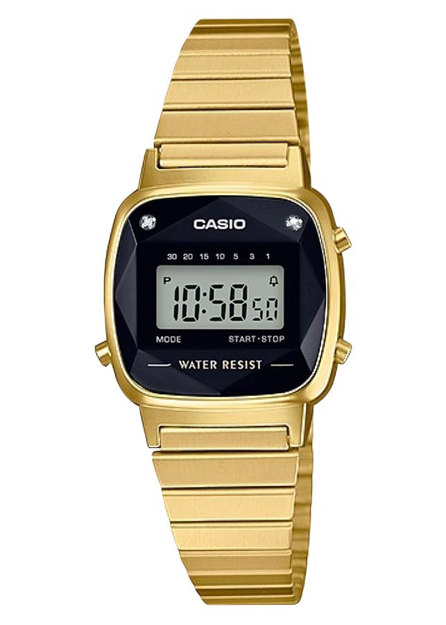 Đồng Hồ Casio Nữ Dây Thép Đính Kim Cương Thật LA670WGAD-1DF - Vàng