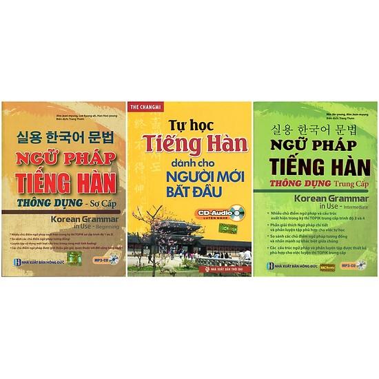 Combo Trọn Bộ Ngữ Pháp Tiếng Hàn Thông Dụng Sơ - Trung Cấp (Tặng Bookmark PL)