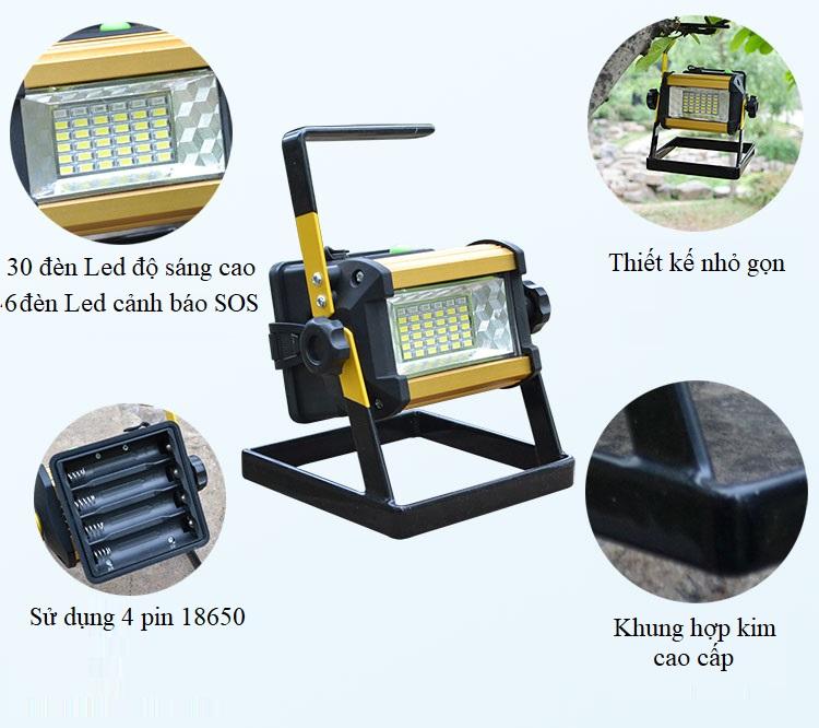 Đèn pin xách tay sạc điện siêu sáng 50W W807 ( Tặng kèm pin )