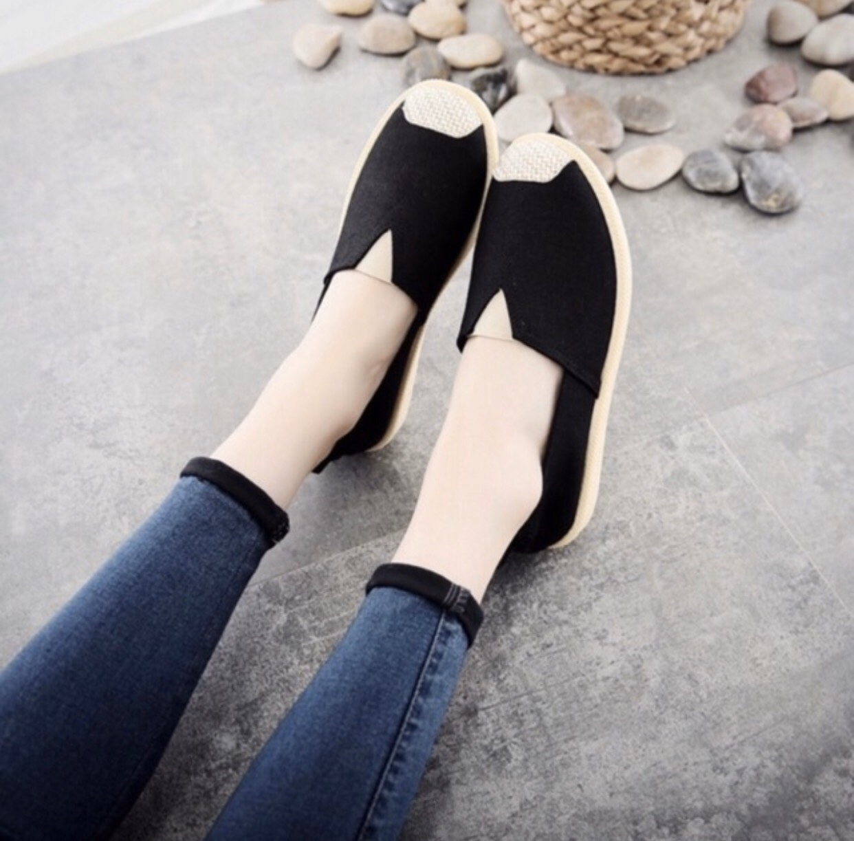 Giày lười slip on nữ bọc cói vintage dáng basic-GL1