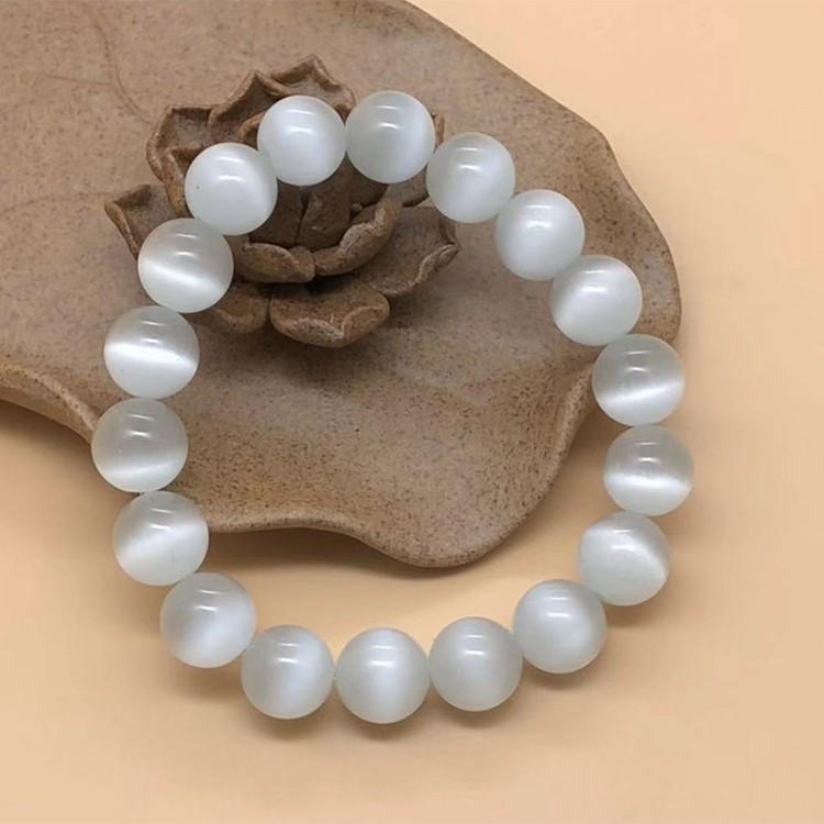 Vòng tay đá Opal mắt mèo trắng 10ly - Vòng tay phong thủy cho người mệnh Kim - Thủy TTB-VTO2 1
