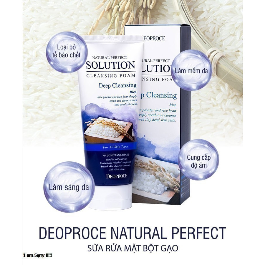 Sữa rửa mặt gạo Deoproce Natural Perfect Solution Cleansing Foam Deep Cleansing chiết xuất từ gạo lứt 170g