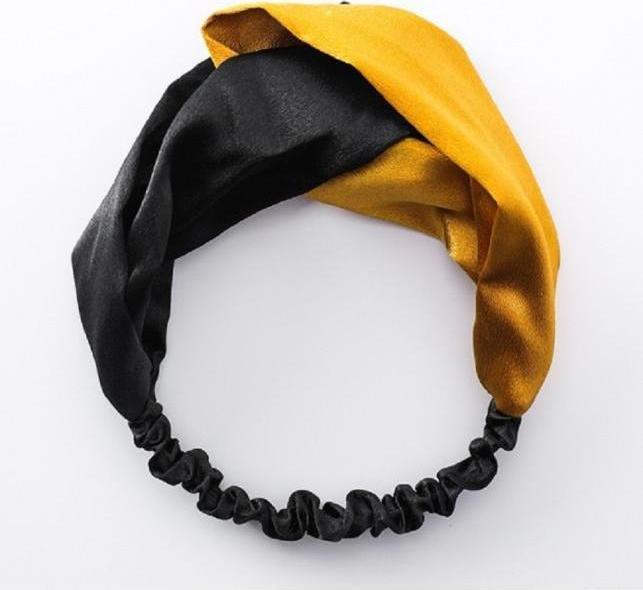 Băng đô Turban vải họa tiết 023  - Vàng đen