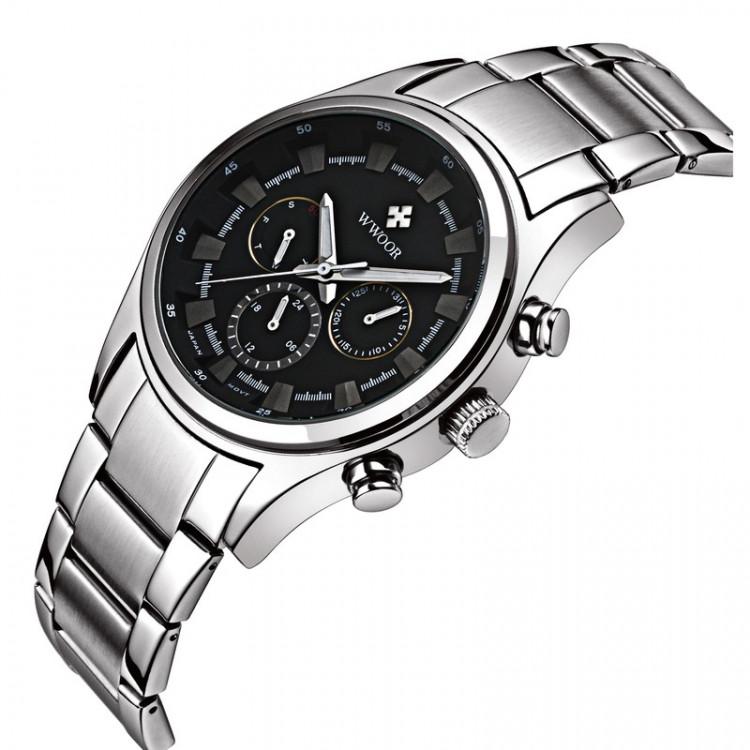 Đồng hồ nam Wwoor 8015 dây thép cao cấp không gỉ 4