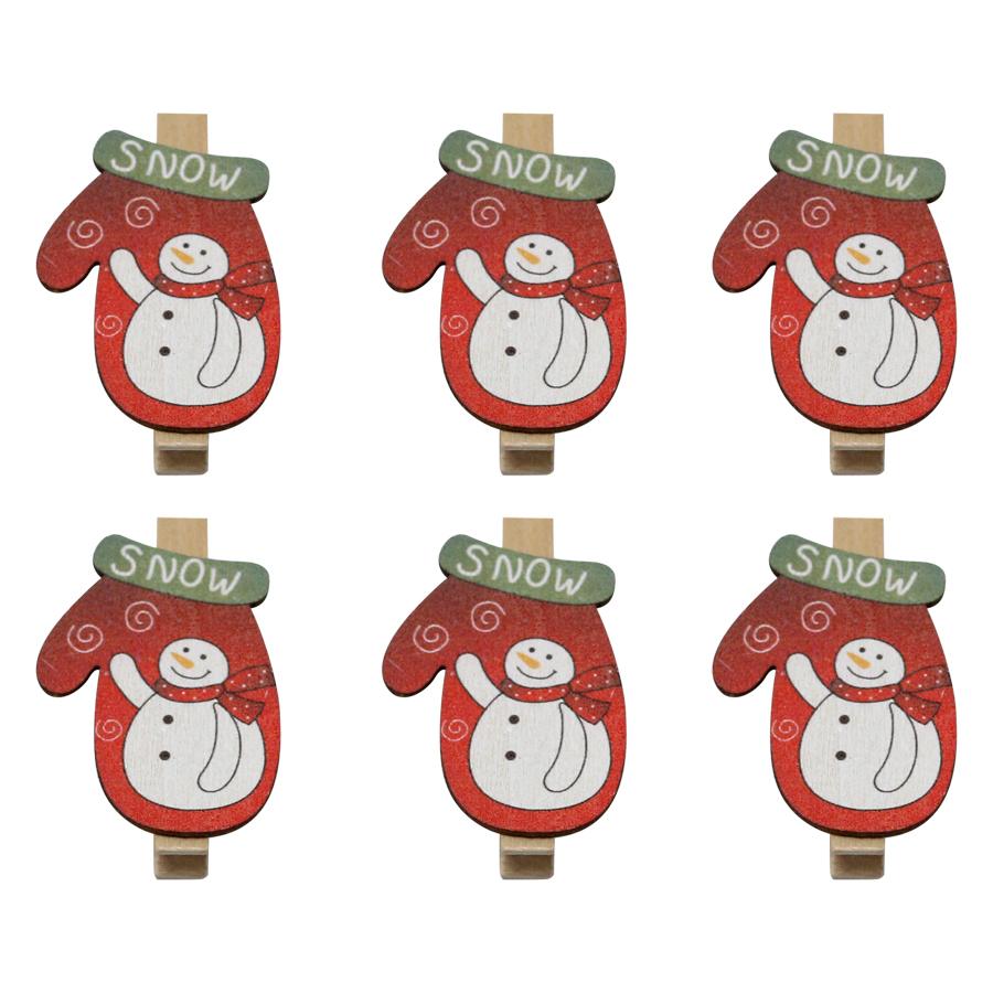 Bộ 6 Kẹp Ảnh Gỗ Trang Trí Giáng Sinh - Chiếc Tất Hình Người Tuyết