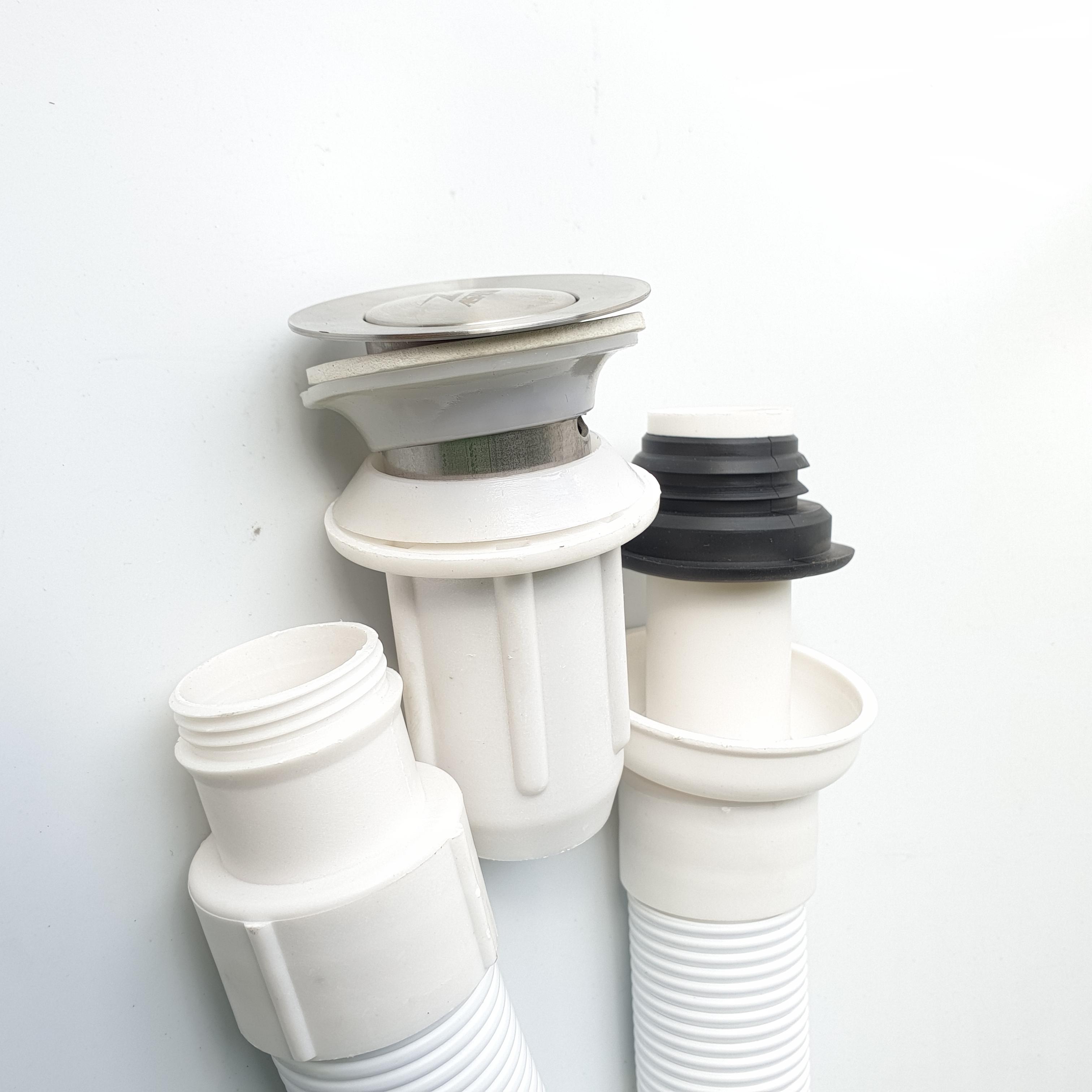 Xả lavabo ruột gà ống nhựa ABS nhựa trắng,đầu inox sus304 loại nhấn cao cấp đẹp