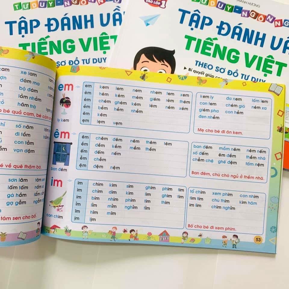 Combo Vở Tập Đánh Vần Tiếng Việt phiên bản mới nhất 2021 + 40 Thẻ Học Flashcard - Tặng 1c bút chì hoạt hình