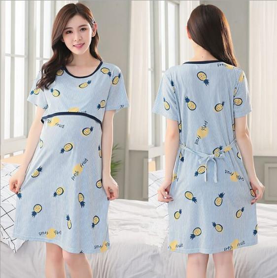 Đầm, váy bầu và sau sinh chất cotton thun có thiết kế cho con bú ngắn tay mặc mùa hè giá rẻ AZ300