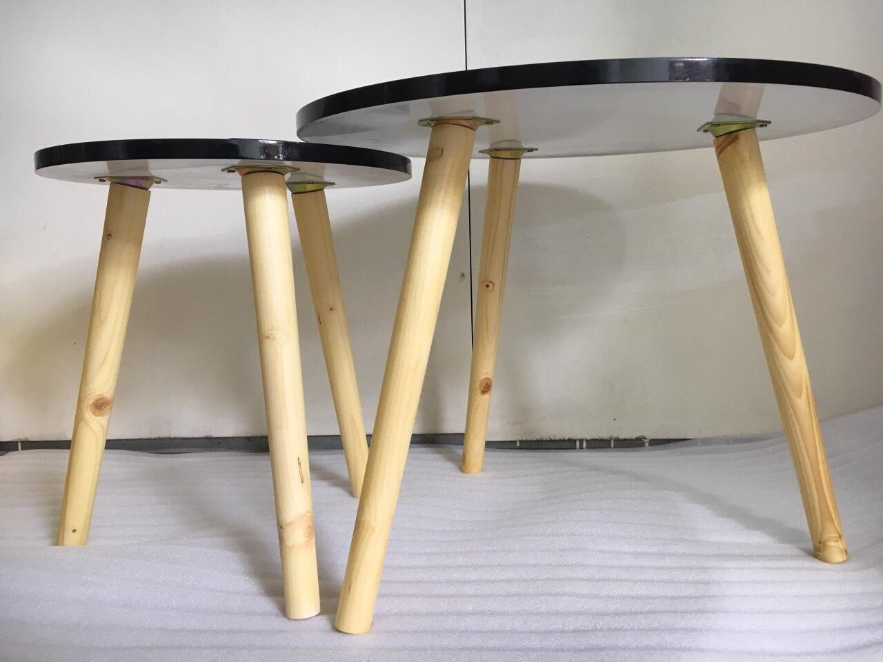 Pk - Cặp bàn tròn đen sofa 60-40, bàn trà, bàn cafe, coffee, cà phê, bàn salon, sopha