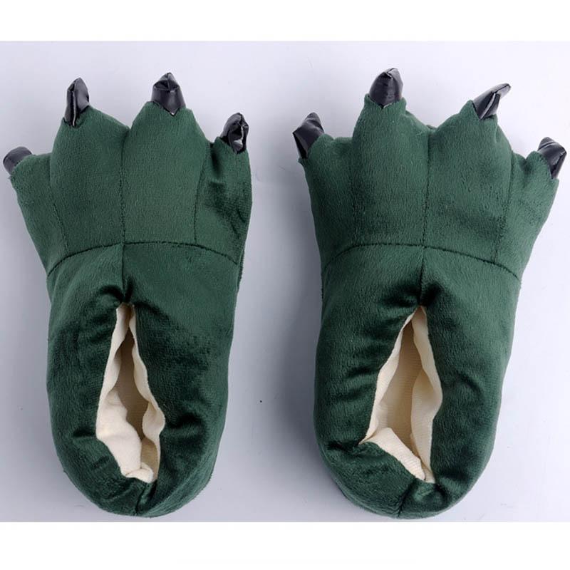 Giày dép bông Bộ Đồ thú Khủng Long xanh lông mịn êm ấm cho người lớn và trẻ em