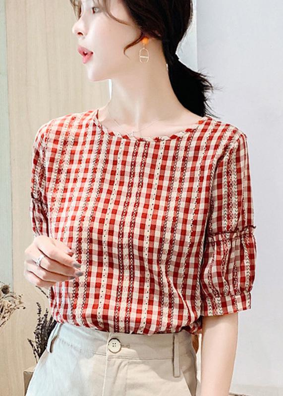 Áo kiểu nữ công sở Louro L214, mẫu áo công sở ngắn tay, họa tiết caro