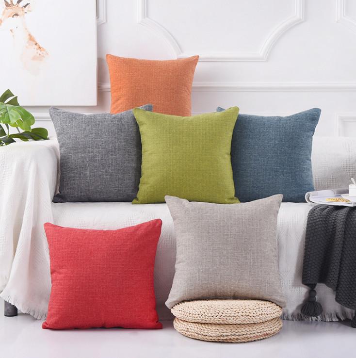 Vỏ gối vuông tựa lưng trang trí ghế Sofa màu Basic - Hàng Cao Cấp