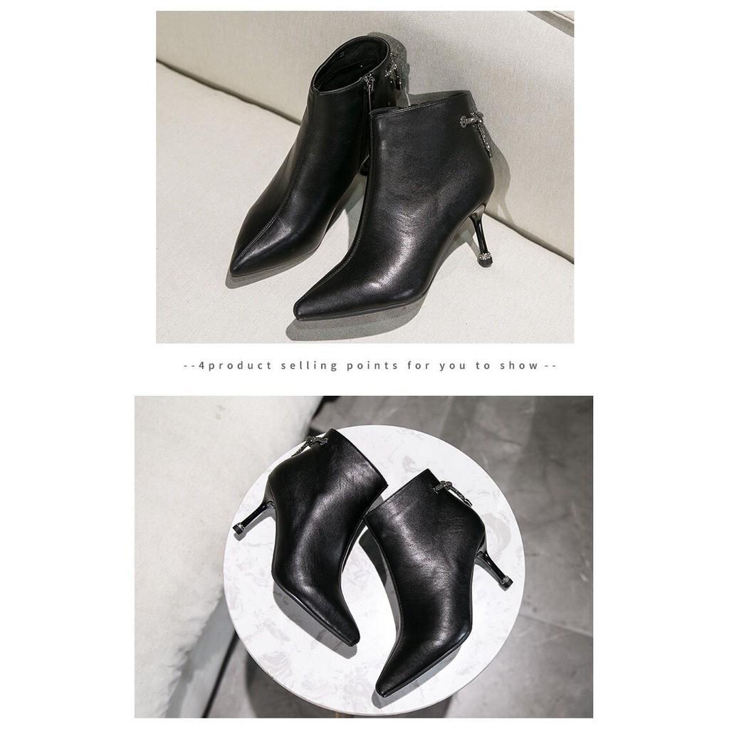Bốt nữ giầy da cao cấp, chuỗi đá đính gót siêu sang chảnh full hộp sịn sò   - Thời Trang PKT