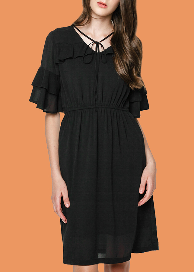 Đầm Nữ Dáng Xòe Phối Voan Mint Basic - Đen Size S