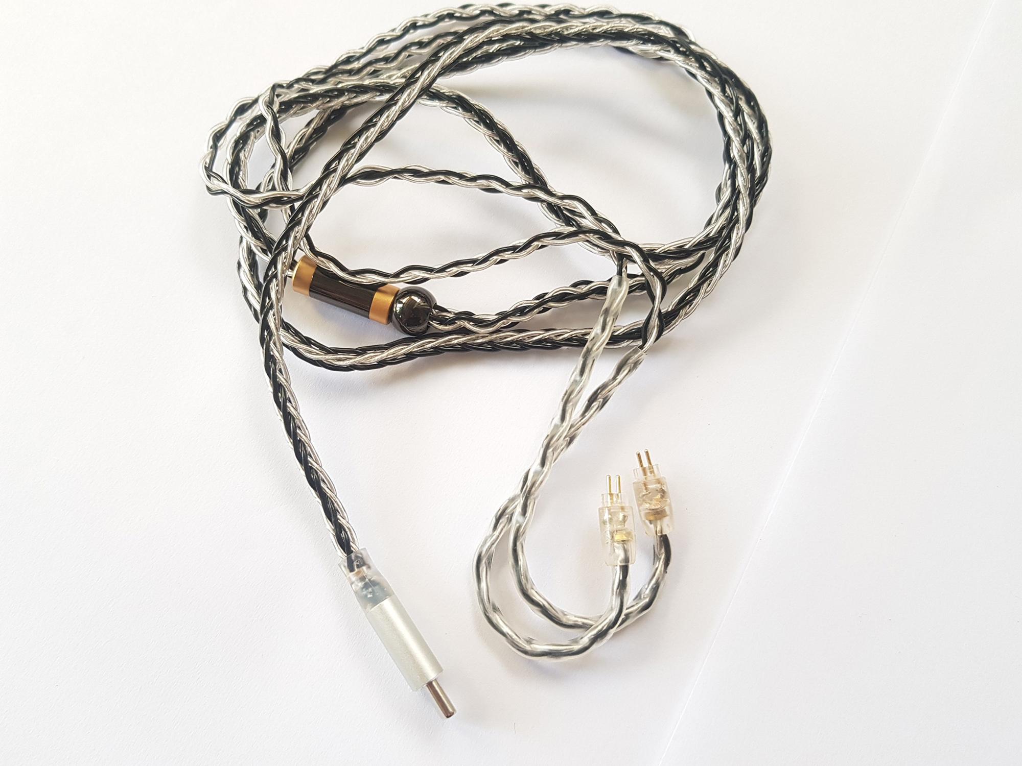 Cáp chuyển Type C sang 2 Pin 0.75mm chất lượng cao, dây mạ bạc 8 lõi, Chip CX21988 hỗ trợ đầu ra âm thanh Hires