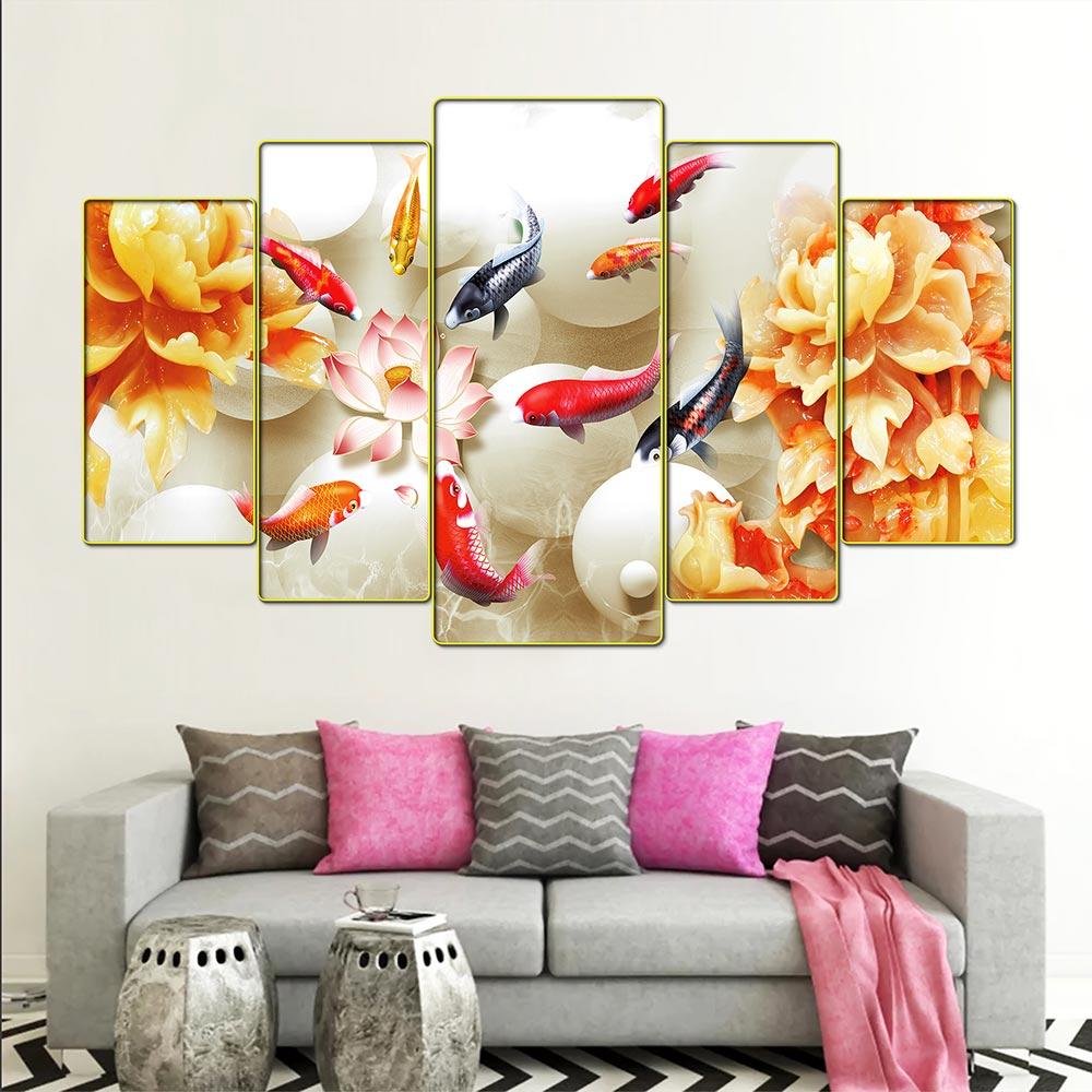 Tranh treo tường phòng khách, phòng ngủ, phòng ăn - Cửu ngư quần hội - cá chép hoa sen:2444L5F