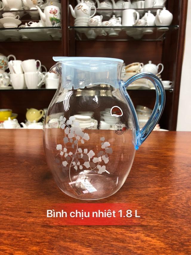 Bình đựng nước thủy tinh chịu nhiệt LL-1,8L quai xanh dương họa tiết hoa dây - ANTH202