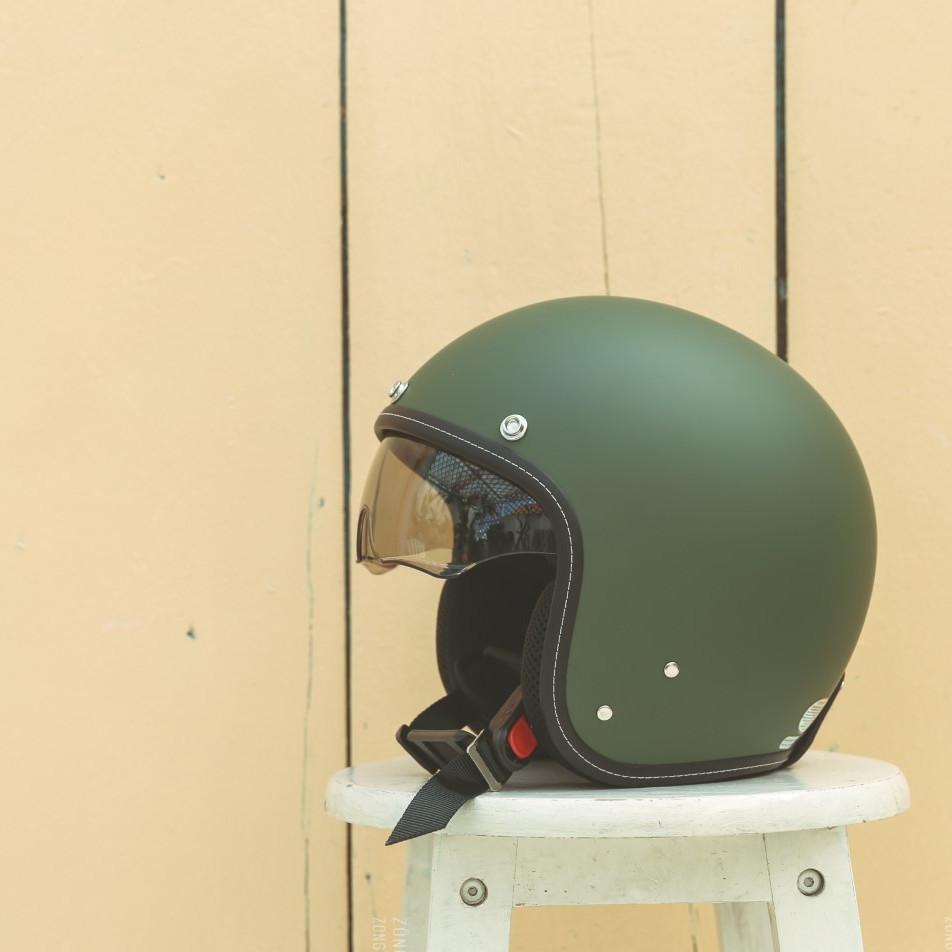 Mũ bảo hiểm 3/4 Sunda 388 - Màu xanh lính nhám