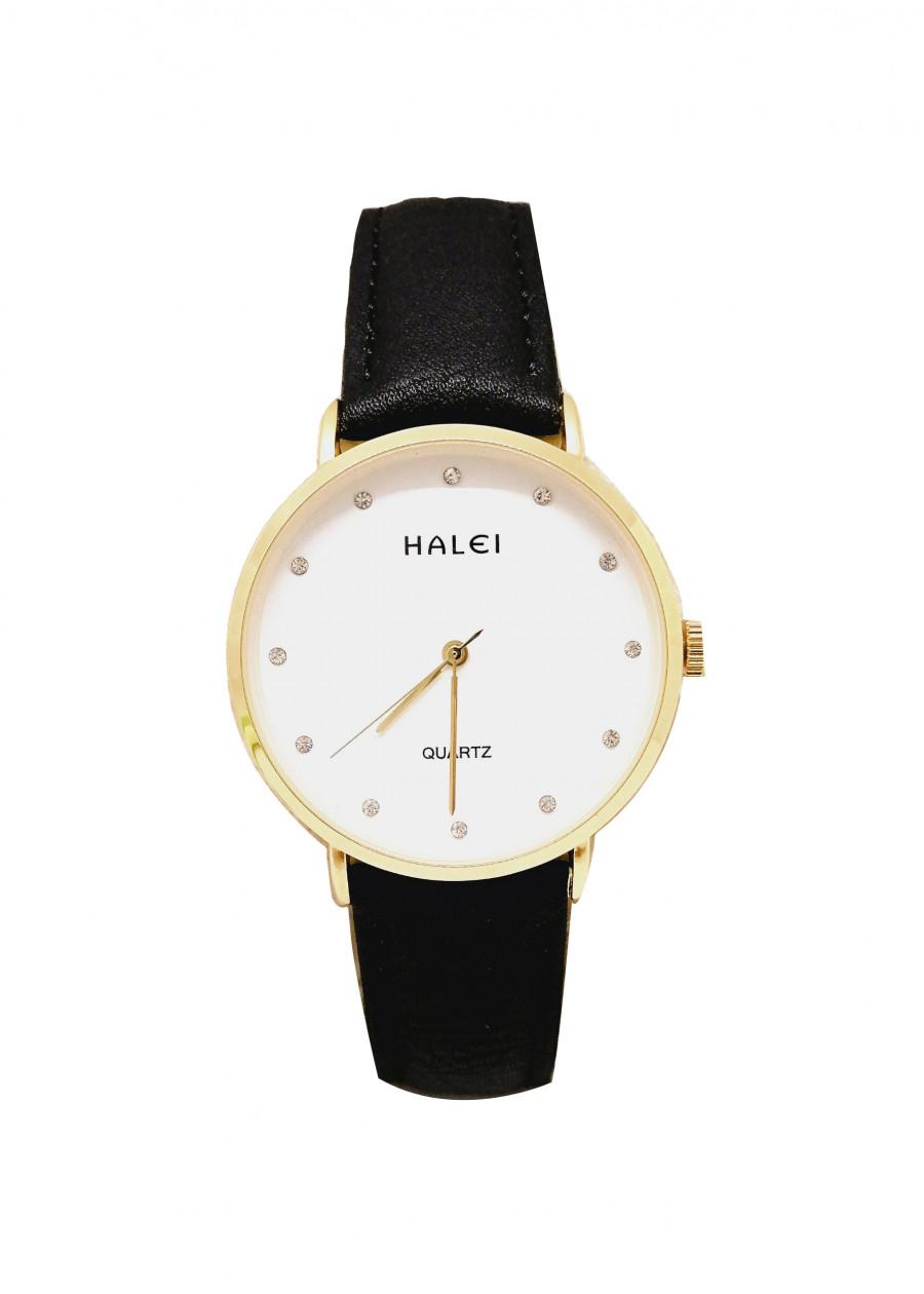 Đồng hồ Nam Halei - HL542 Dây da đen mặt trắng (Tặng pin Nhật sẵn trong đồng hồ + Móc Khóa gỗ Đồng hồ 888 y hình + Hộp Chính Hãng+ Thẻ Bảo Hành)