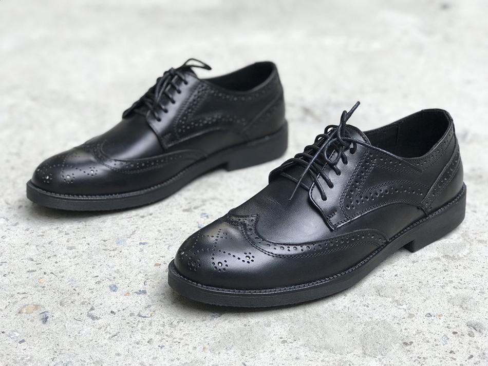 Giày Tây nam da bò công sở cao cấp Derby Wingtip