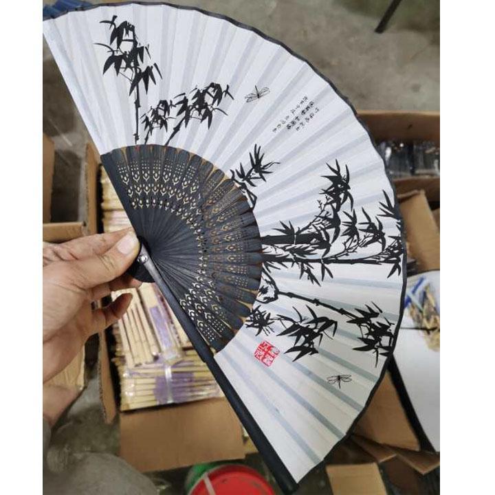 Quạt cổ trang trúc trắng thư pháp vải lụa xếp cầm tay quà tặng Trung Quốc xinh xắn tặng ảnh Vcone