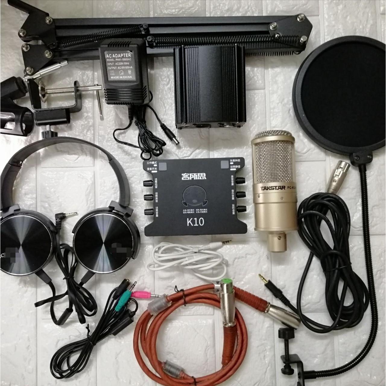Combo bộ hát karaoke Live Stream thu âm Takstar PC-K200 và Sound card XOX K10 đầy đủ phụ kiện hàng chính hãng