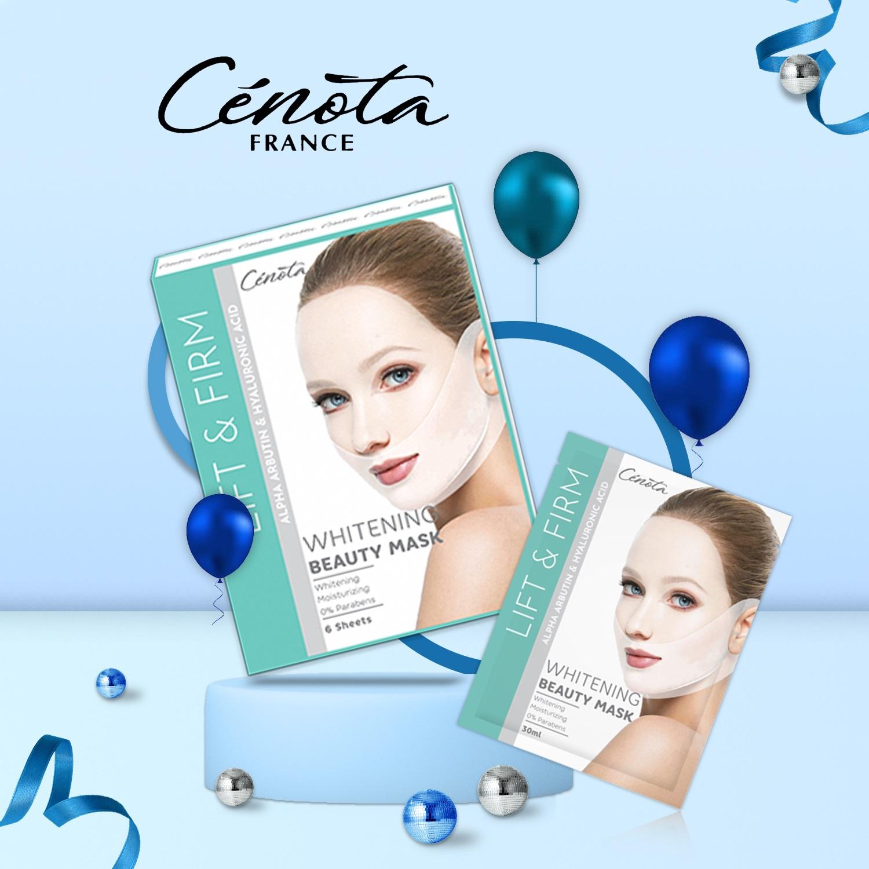 Mặt nạ trắng da Nâng cơ Tạo hình Vline Cenota Whitening Beauty Mask Hộp 6 Miếng
