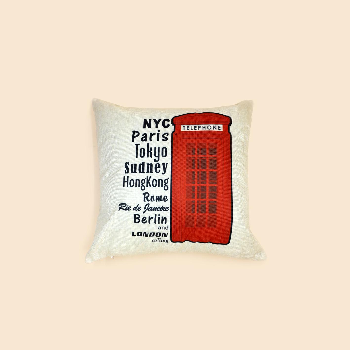 Vỏ gối tựa sofa London 45*45 - London Items Pillow Case S20