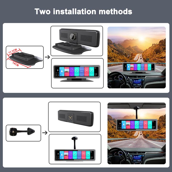 Camera hành trình 360 độ gắn gương và taplo ô tô cao cấp Phisung T88 đa năng 5 trong 1 Android: 9.0 - Hàng chính hãng