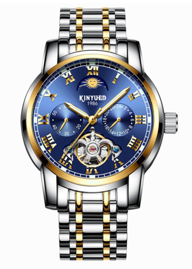 Đồng hồ cơ KINYUED hàng cao cấp, thiết kế phong cách doanh nhân, chạy full kim, full boxj028_xanh