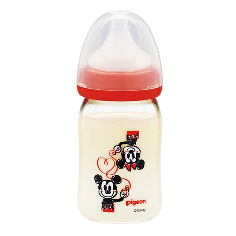 Pigeon Pigeon wide-caliber PPSU imitation milk breast milk bottle 160ml Mickey pattern Japanese original import