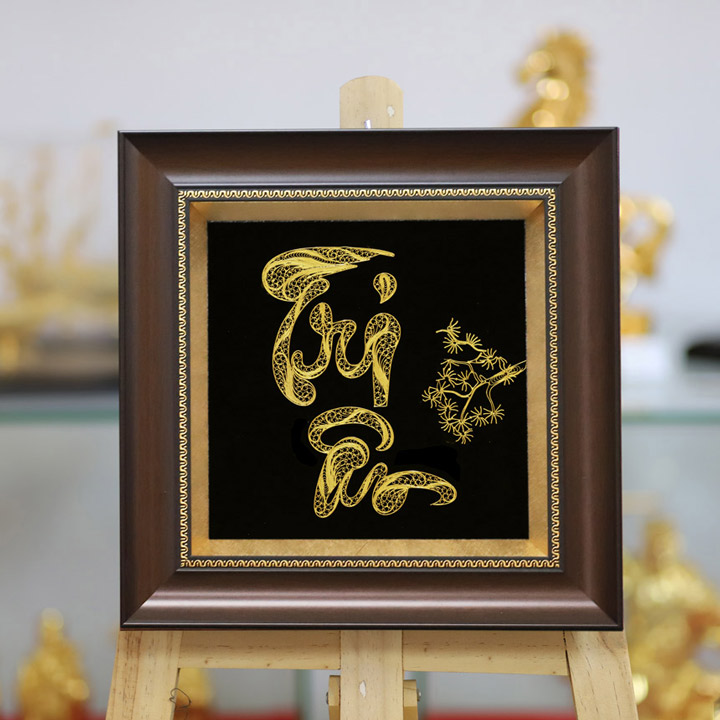 Tranh chữ nghệ thuật Tri Ân mạ vàng