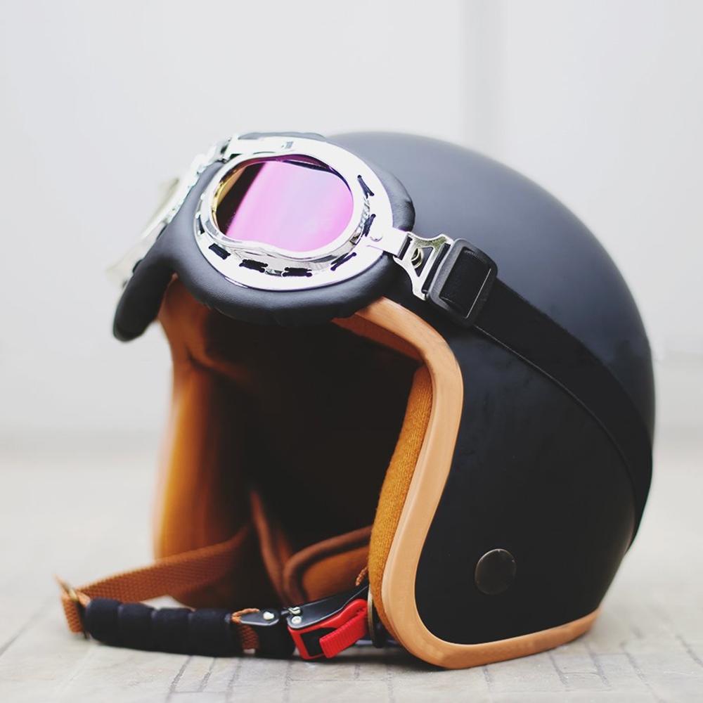 Mũ Bảo Hiểm 3/4 SRT Đen nhám Lót Màu Cao Cấp + Kính Chống Bụi, Chống Nắng (Màu ngẫu nhiên)