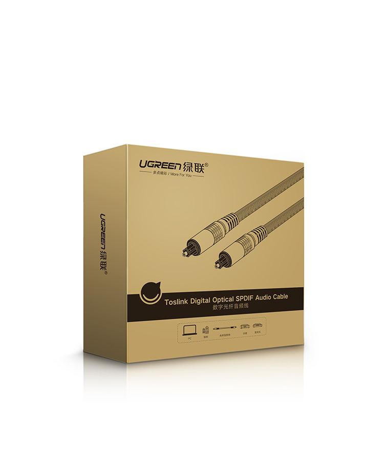 Dây audio quang (Toslink Optical) đầu nhôm dài 1.5M UGREEN AV108 10542 (màu đen) - Hàng chính hãng