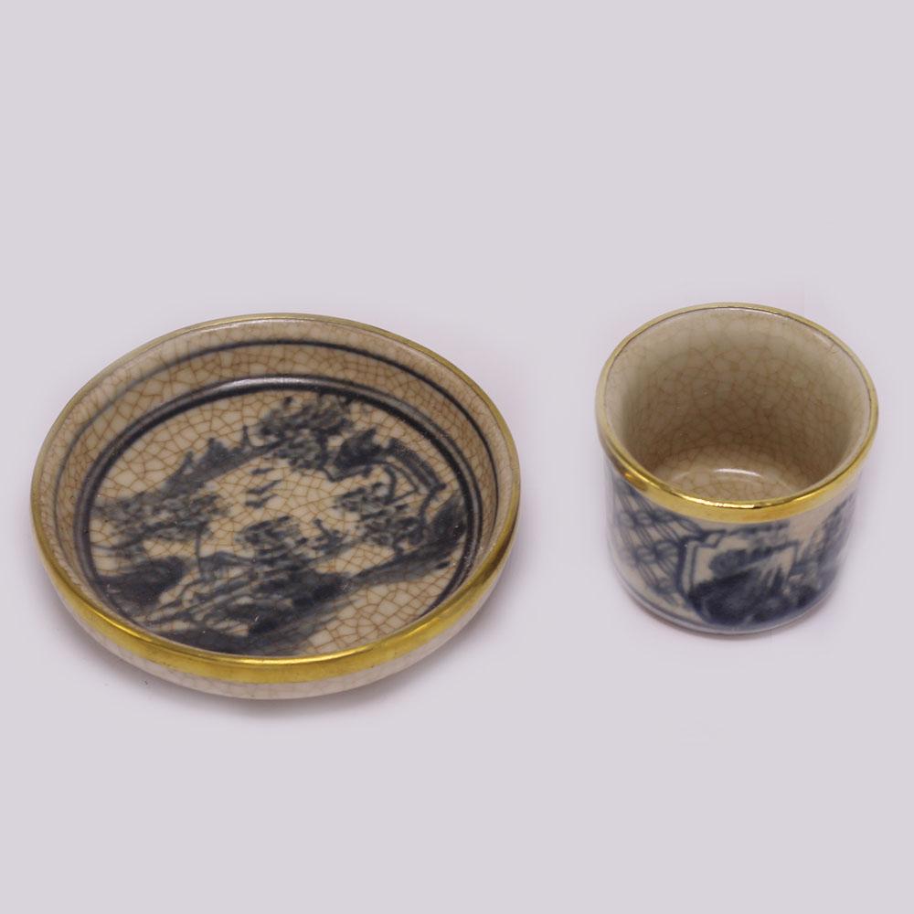 Bộ bình trà ( Ấm Chén) men rạn bọc đồng MNV-TS003