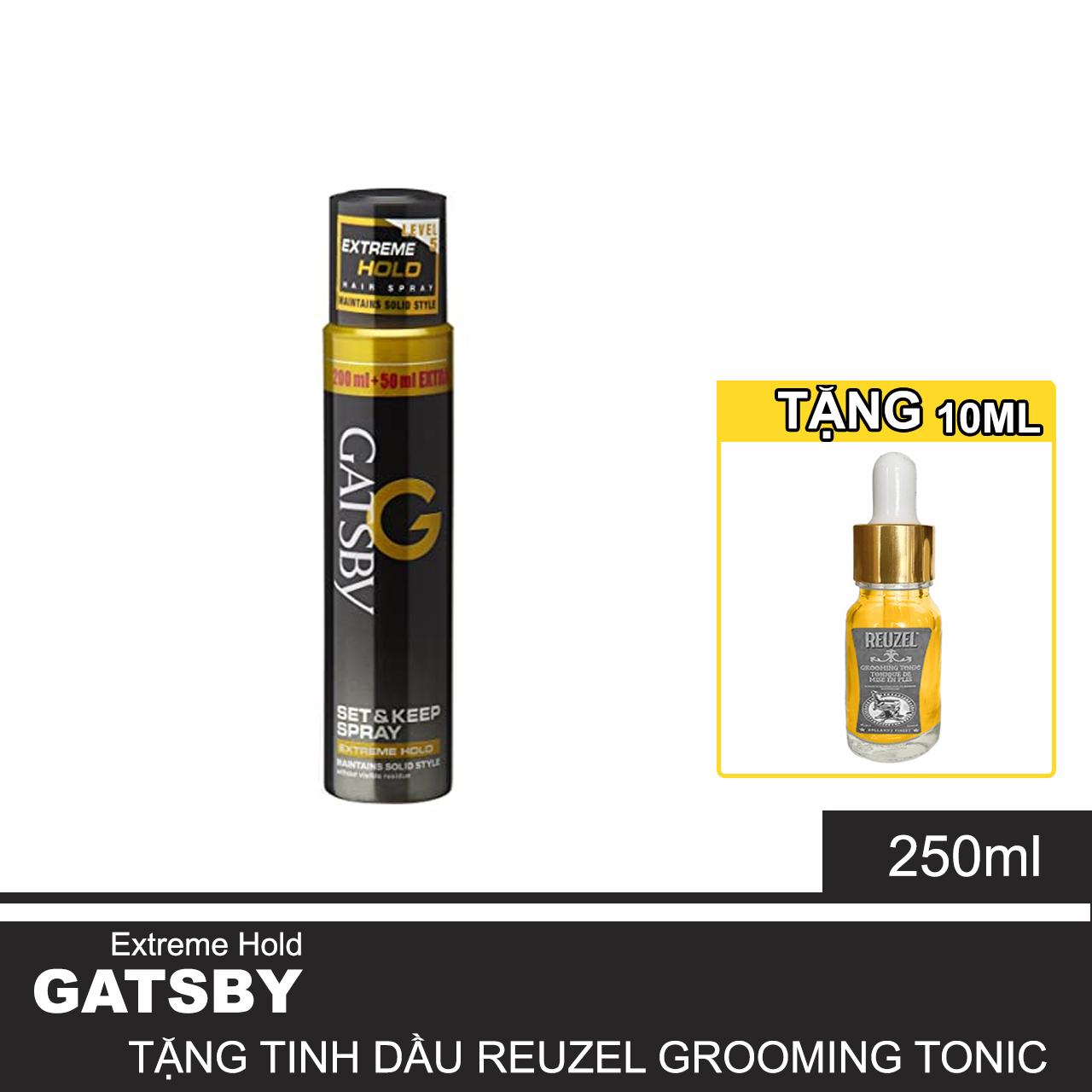 Gôm Xịt Giữ Nếp Gatsby Tạo Kiểu Tóc Mái Nam Mềm Hair Spray Super Hard 250ML + Tặng Reuzel Grooming Tonic  - Chính hãng - SET & KEEP SPRAY