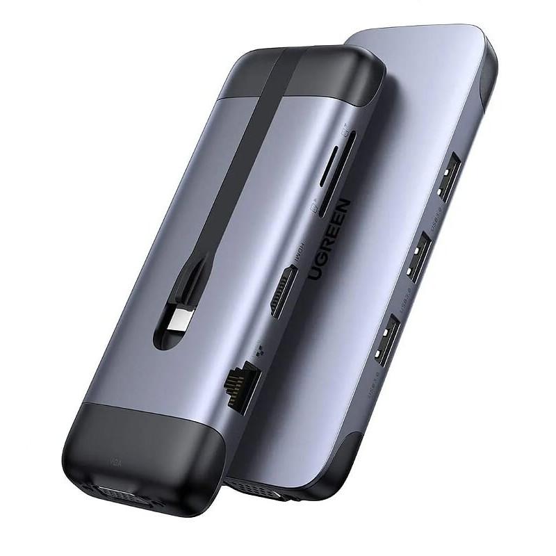 USB type C Hub 9 trong 1 Docking + 4K HDMI + VGA + Gigabit Ethernet + sạc sạc PD Charging + 3 x USB 3.0 + đọc thẻ SD Ugreen 286DK70409CM 10CM màu xám hàng chính hãng