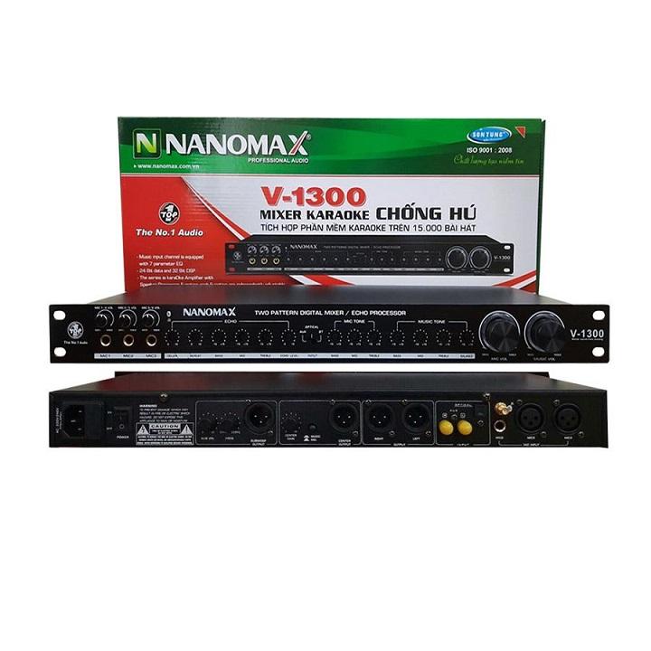Vang cơ chống hú NANOMAX V-1300 có Bluetooth - Tích hợp 15.000 bài hát karaoke - Hàng chính hãng