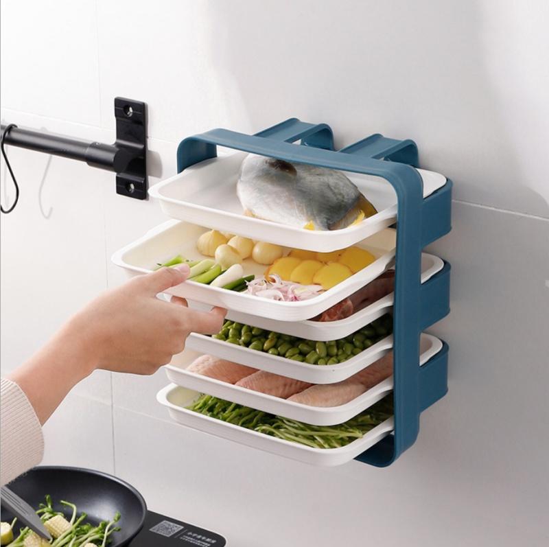 Kệ 6 đĩa đựng thức ăn thông minh khi nấu ăn kèm đĩa đựng nhỏ gọn/Kệ bếp đa năng 6 ngăn đa năng treo tường/Kệ để gia vị MOHI MK6D - Chính hãng (Giao ngẫu nhiên)