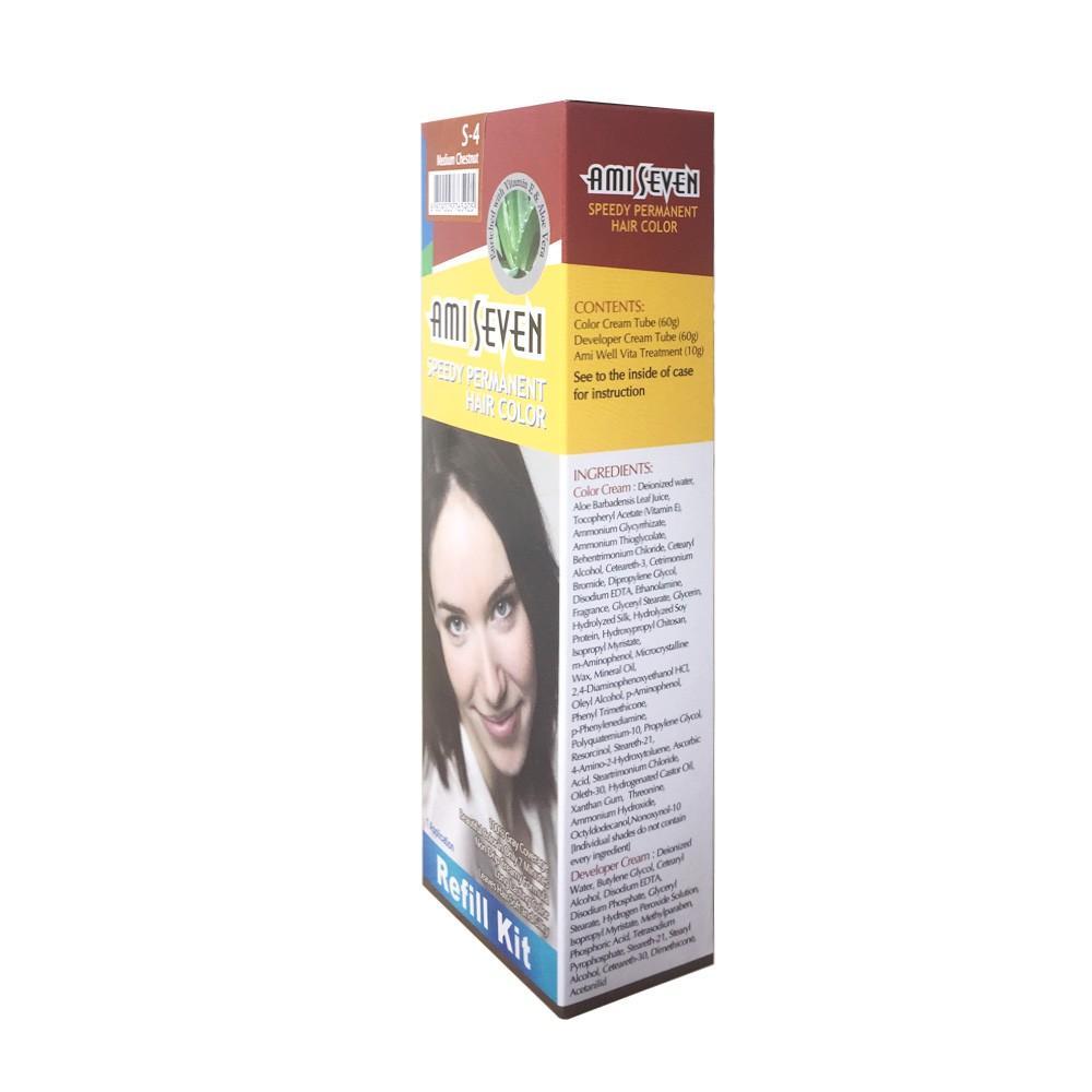 Nhuộm phủ bạc dược thảo Nhanh 7 Phút AMI SEVEN REFILL  (Loại tiết kiệm) S4 Nâu hạt dẻ (60g+60g) Hàn Quốc