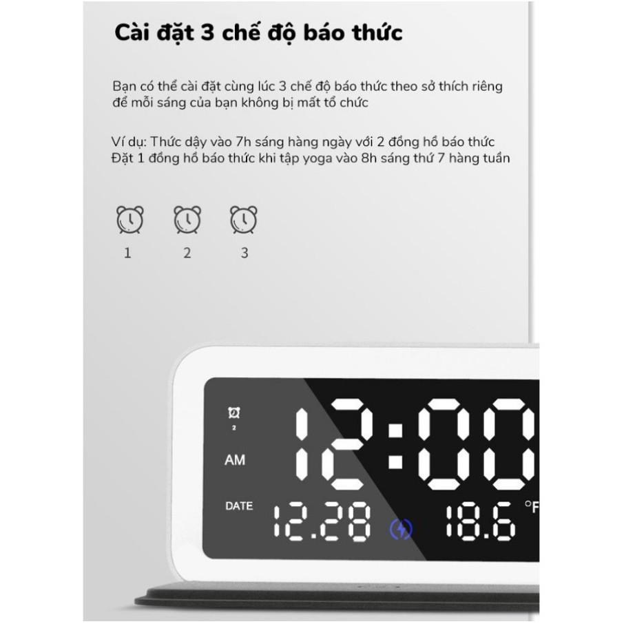 Đồng hồ để bàn tích hợp đế sạc không dây ORYCOOL