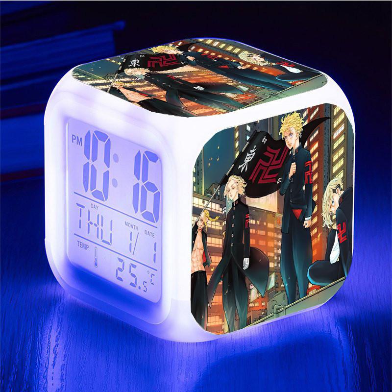 Đồng hồ báo thức để bàn in hình TOKYO REVENGERS Kịch Trường Của Takemichi anime chibi LED đổi màu