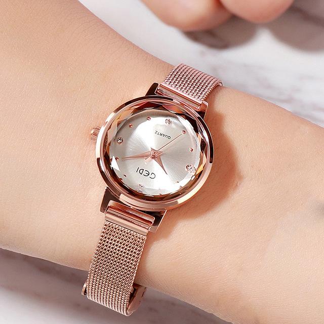 Đồng hồ nữ thời trang Hàn Quốc GEDI-6323 dây thép mặt nhỏ xinh - Hàng chính hãng
