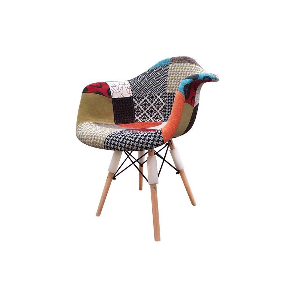 ghế thổ cẩm bành chân gỗ sồi