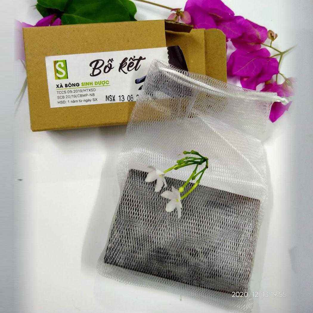 Bánh Xà bông Sinh Dược 100 gram hương Bồ kết, kèm túi lưới tạo bọt