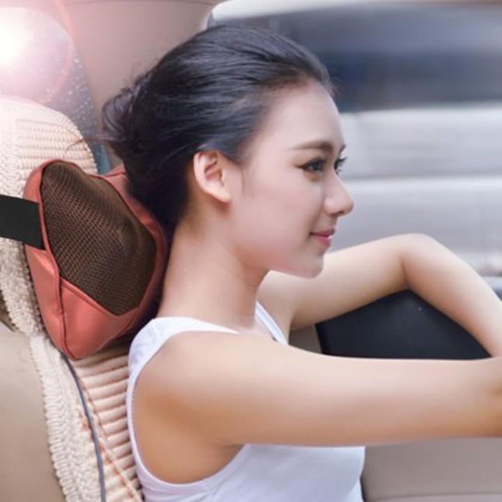Gối massa hồng ngoạị 8 bi massage xoay chiều Lưu thông khí huyết Tặng kính mắt hàn quốc