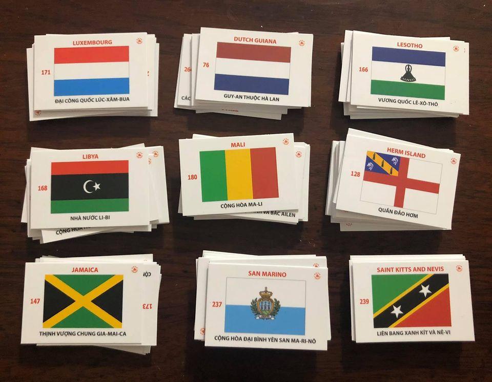 Combo bộ cờ 361 quốc gia, vùng lãnh thổ, khu tự trị đầy đủ, có phiên âm