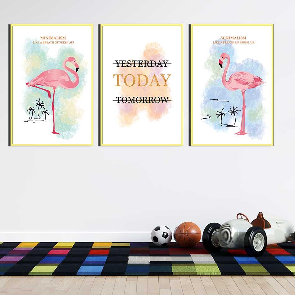 Bộ 3 tranh canvas treo tường Decor Hồng hạc, phong cách scandinavian - DC073